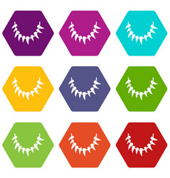 tooth necklace icons set 9 vector image