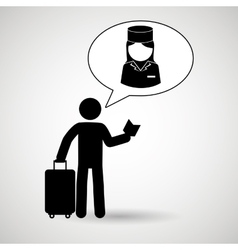 traveler silhouette suitcase vector image