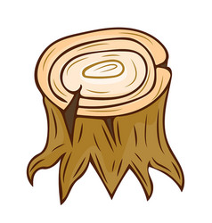 Tree stump with roots isolated vector