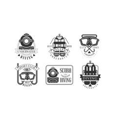 underwater diving retro logo templates set deep vector image