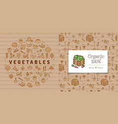 vegetables circle banner and organic farming card vector image