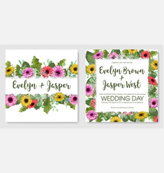 watercolor floral set template wedding vector image