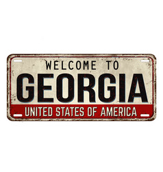 welcome to georgia vintage rusty metal plate vector image