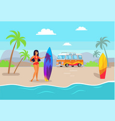 Woman holding surfing board vector
