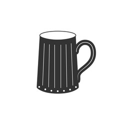 wooden beer mug icon isolated flat design vector image