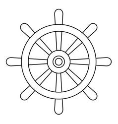 Wooden ship wheel icon outline vector