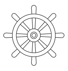 wooden ship wheel icon outline vector image