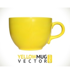 Yellow mug empty blank for coffee or tea isolated vector