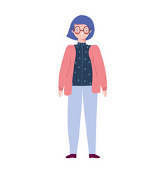 Young woman standing cartoon character female vector