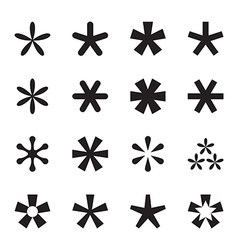 Asterisk footnote star icon set vector image