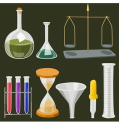 Cartoon chemistry laboratory objects in flat vector