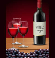 Three glasses red wine with bottle of champagne vector