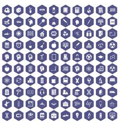 100 education icons hexagon purple vector image vector image