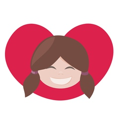 brunette lovely girl with red heart vector image vector image