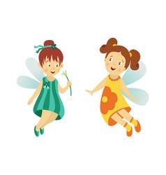 Fairy cute girl set isolated vector