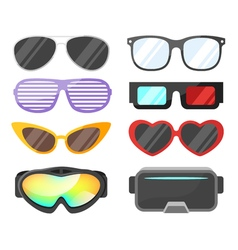 Flat style set of glasses vector