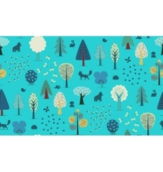 Forest trees seamless pattern vector image
