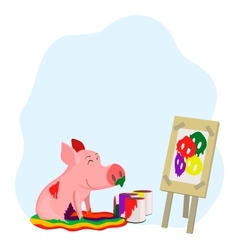 paints a picture of a pig vector image vector image