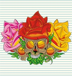 paper flower skull vector image vector image