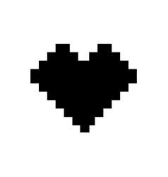 pixel heart icon black sign vector image vector image