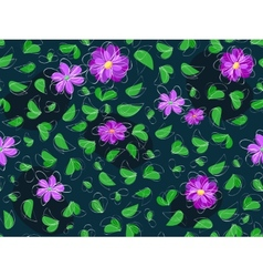 violet flower and green leaf at seamless pattern vector image vector image