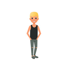 Blond boy in shirt and ripped jeans cartoon kid vector