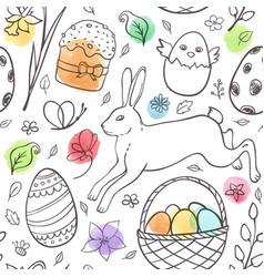 hand drawn easter pattern with rabbit vector image vector image