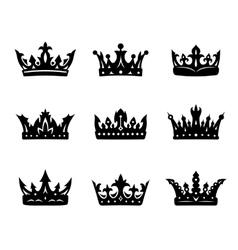 Black heraldic royal crowns vector
