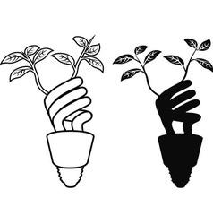 energy saving lightbulb leaf vector image vector image