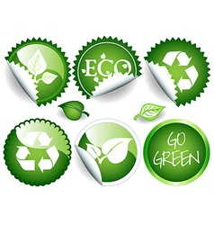 Green stickers vector image vector image