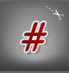 hashtag sign red icon with vector image