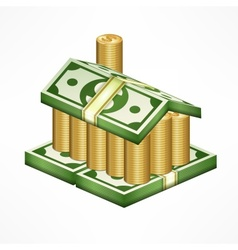 Money house on white vector image vector image