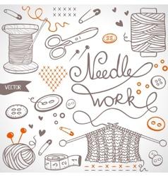 Needlework set vector
