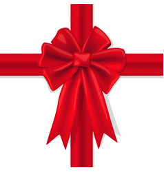 red bow with ribbons on a white background vector image vector image