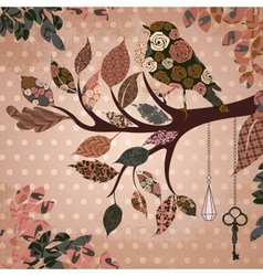 Retro background with leaves and bird of patches vector image vector image