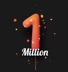 1 million sign orange balloons with threads vector
