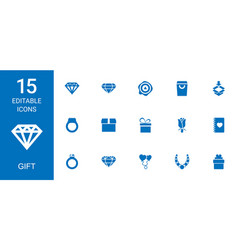 15 gift icons vector