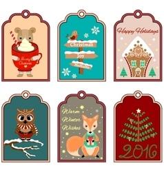 6 Christmas gift tags vector image