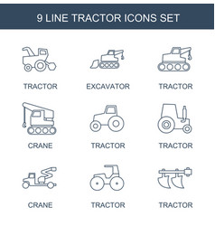 9 tractor icons vector
