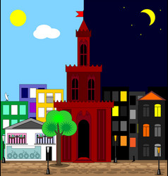Abatract multicolor image of the city day and vector