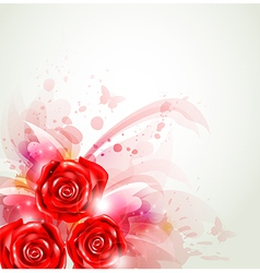 Abstract background with red roses vector
