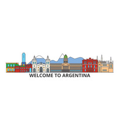 Argentina outline skyline argentinian flat thin vector