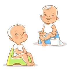 Baby on potty vector image