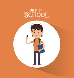 Back to school boy student with smartphone bag and vector
