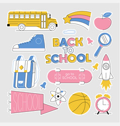 back to school set collection stickers vector image