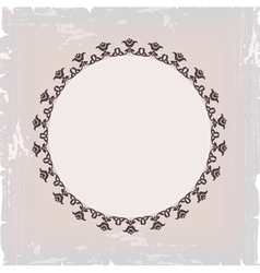 background of round floral vintage frame vector image