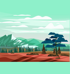 beautiful summer mountain landscape valley rural vector image