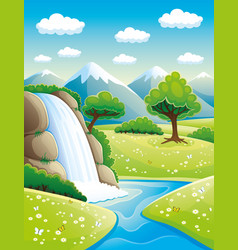 Beautiful waterfall and mountains vector