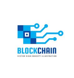 blockchain technology - logo template vector image