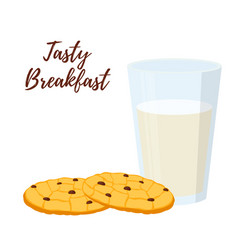 Breakfast milk glass cup oatmeal cookies vector